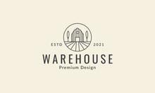 Lines Warehouse With Tree Logo Vector Icon Symbol Graphic Design Illustration