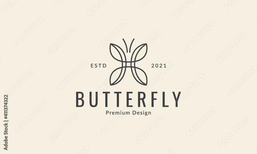 Fototapeta unique shape line butterfly cute logo vector icon symbol graphic design illustration