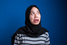 Young Asian Woman Wearing Traditional Islamic Hijab Scarf Thinking Looking Tired And Bored