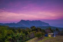 Camping Tents On The Hill At San Pa Kia, Doi Mae Ta Man Viewpoint Located , Chiang Mai, Thailand.