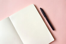 High Angle View Of Blank Book On Table