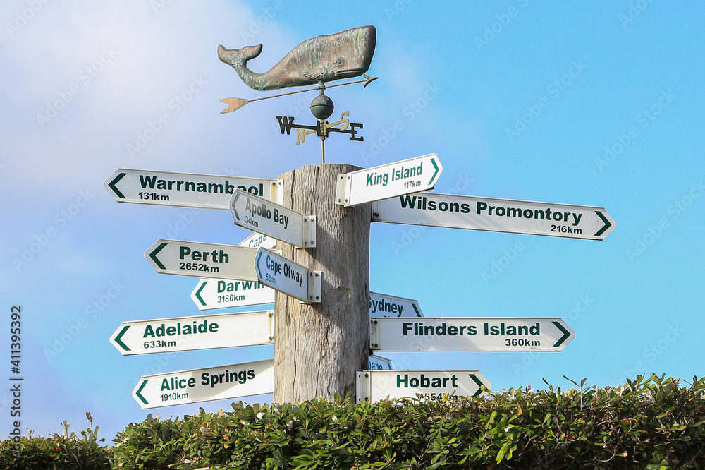 Fototapeta  Public signpost showing distances to different places from Lorne, Victoria, Australia.