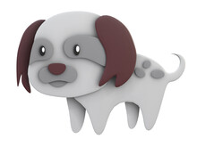 3D RENDER ILLUSTRATION. Clipping Path Cute Dog On Isolated White Background. Paper Cut Art Style.
