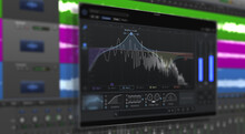 Image Of Multitrack Sound Audio Wave On Monitor. Recording, Mixing, And Mastering In Studio.