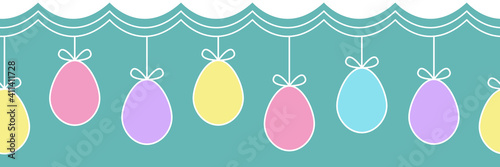 Obraz Horizontal seamless pattern with hanging Easter eggs. Easter garland, great for web banners, postcards, packaging designs. Vector illustration. - fototapety do salonu
