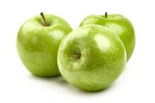 Fresh Granny Smith Apples, Isolated On White Background