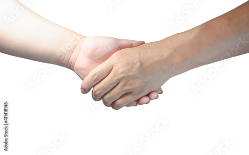 Cropped Image Of People Shaking Hands Over White Background Fototapet
