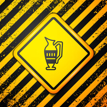 Black Ancient Amphorae Icon Isolated On Yellow Background. Warning Sign. Vector.