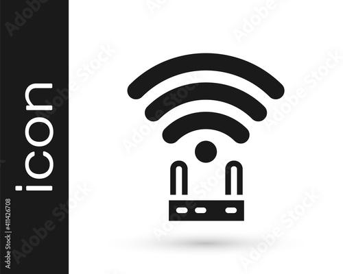Valokuvatapetti Black Router and wi-fi signal icon isolated on white background