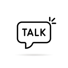 Talk Word In Black Thin Line Bubble