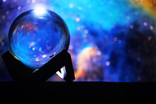 Magic Ball Predictions. Mysterious Composition. Fortune Teller, Mind Power, Prediction Concept. Space Inside.
