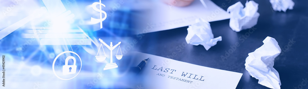 Fototapeta Legal concept. The procedure for writing the last will. Papers with testament on the table. Registration of the last will and testament.