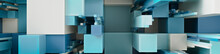 Multicolored 3D Block Background. Tech Wallpaper With Natural Aqua Hues. 3D Render