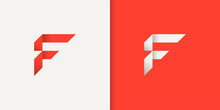 Initial Letter F Logo Concept. Red And White Geometric Shape Origami Style Isolated On Double Background. Usable For Business And Branding Logos. Flat Vector Logo Design Template Element