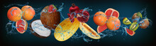 Panorama With Fruits In Water - Grapefruit, Coconut, Strawberry, Melon, Kiwi Sweet Delight With An Unusual Taste