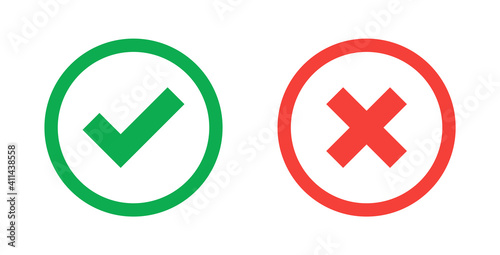 Obraz Green check mark and red cross icon.Set of simple icons in flat style: Yes/No, Approved/Disapproved, Accepted/Rejected, Right/Wrong, Correct/False, Green/Red, Ok/Not Ok. Vector illustration. - fototapety do salonu