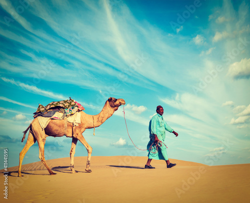 Photo Cameleer (camel driver). Rajasthan, India