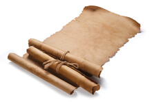 Antique Paper Scrolls Isolated On A White Background