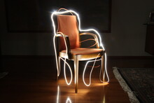 Light Painting Over Chair In Room At Home