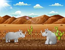 Illustration Of Two Rhinos Living In The Dry Land