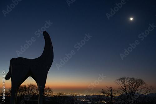 Leinwand Poster 夜明け前の月と陣馬