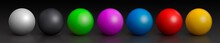 Set Of Colorful Glossy Spheres Isolated On Dark Background. Toy Balls. 3D Render
