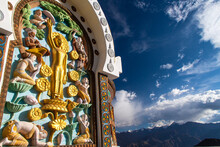 Stupa With Buddhist Motif Overlooking Leh Ladakh