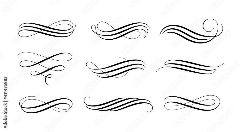 Fototapeta Set of vintage calligraphic flourish, curls, dividers, scrolls and swirls. Simple design elements. Hand drawn flourish vector collection.