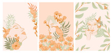 Collection Of Posters With Beautiful Woman Face Portrait With Plants And Flowers In One Line Style. Blooming Abstract Women. Minimalistic Style. Vector Illustration.