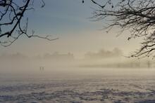 Two Silhouette People Walking Across A Public Field After Heavy Snowfall On A Misty January Morning.