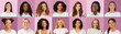 canvas print picture - Cheerful beautiful women of different nationalities over pink