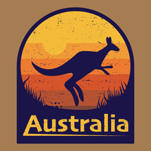 Australia - Kangaroo Jump Against Sunset