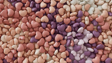 Multicolored Heart Background. Valentine Wallpaper With Peach, Purple And White Love Hearts. 3D Render