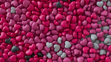 Multicolored Heart Background. Valentine Wallpaper With Pink, White And Black Love Hearts. 3D Render