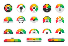 Business Credit Score Indicators. Speedometer Icons. Colored Scale Speedometers. Vector Illustration.
