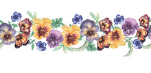 Pansies, Flowers, Bloom, Flora Frame Border Postcard Print, Textile. Hand-drawn Watercolor Illustration. Spring, Summer, Nature. Purple, Yellow, Pink