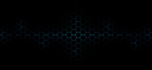 Abstract Technology Futuristic Concept Dark Hexagons Pattern With Glowing Blue Bright Energy Flashes Under Hexagon Background.
