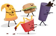 Zombie Fast Food, Pizza, Soda, Franch Fries, Hamburger