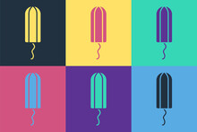Pop Art Menstruation And Sanitary Tampon Icon Isolated On Color Background. Feminine Hygiene Product. Vector.