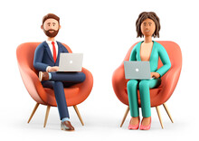 3D Illustration Of Smiling Bearded Man And African American Woman Using Laptops And Sitting In Chairs. Cute Cartoon Businessman And Businesswoman Working In Office, Isolated On White.