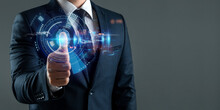 The Man Gains Access To The Personal Information Of The Holograms With Fingerprint Identification. Modern Technologies, Cloud Data Storage.