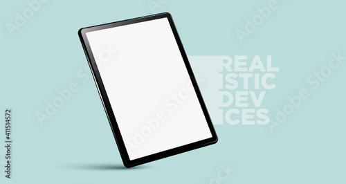 Realistic vertical black tablet pc pad computer mockups vector EPS.