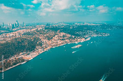 Obraz na plátně Aerial view of Istanbul Bosporus