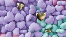 Multicolored Heart Background. Valentine Wallpaper With Violet, Turquoise And Gold Love Hearts. 3D Render