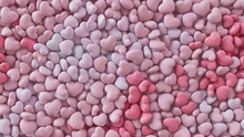 Multicolored Heart Background. Valentine Wallpaper With Pink And White Love Hearts. 3D Render