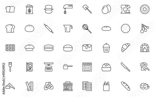 Fototapeta set of bakery thin line icons, baked, bread