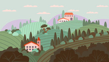 Cute Italian Landscape. Vector Illustration In Flat Style. The Vineyards Of Tuscany Are Painted In A Vintage Style. For Wine Labels, Posters, Postcards, Design And Decor. Horizontal Composition.