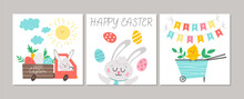 Cute Set Of Square Easter Cards With Bunny, Colored Eggs, Cute Wheel Barrow With Chick. Vector Spring Print Design Templates. Religious Holiday Seasonal Banner Or Poster Templates.  .