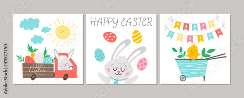 Canvas Print Cute set of square Easter cards with Bunny, colored eggs, cute wheel barrow with chick