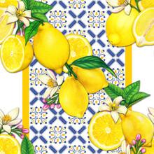 Mediterrraean Lemon And Tiles Watercolor Pattern